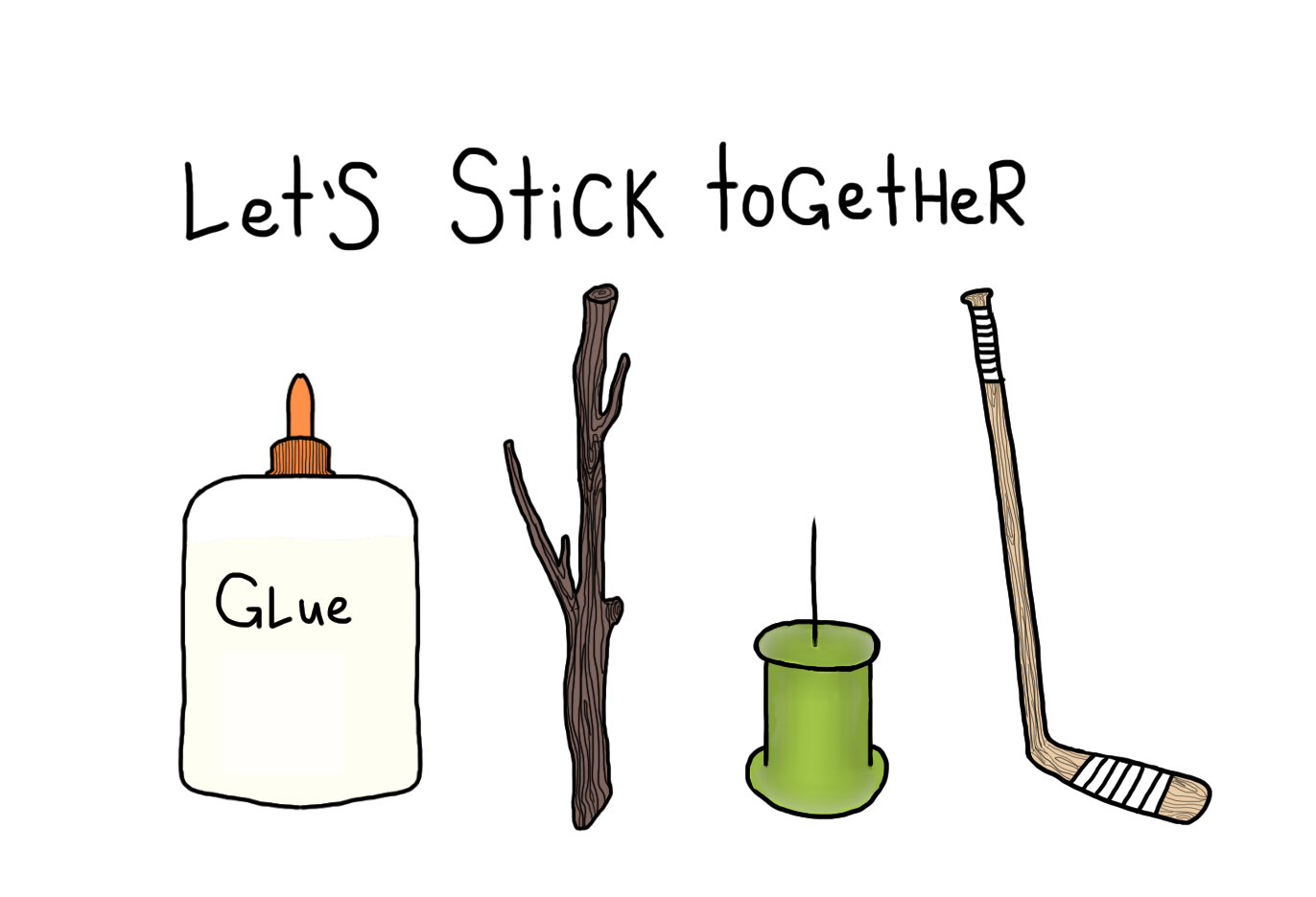 let's stick together, glue, push pin, thumb tack, hockey